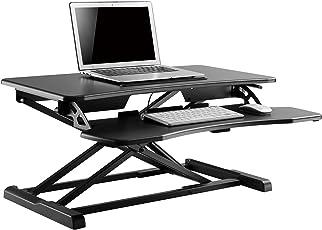 WOLTU Computertisch Sitz-Steh-Schreibtisch Sitz-Stand-Workstation Steharbeitsplatz Schreibtisch Stand Tisch höhenverstellbar klappbar Schwarz TS28sz