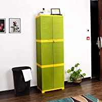 Cello Novelty Large Plastic Cupboard with lock(Green and Yellow)