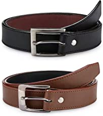 Krystle Boy's PU Leather Belts (KRY-BOY-BLK-BRN1-PO2-BELT, Black and Brown, Free Size, Pack of 2)