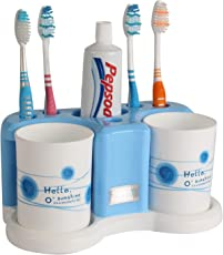 Bathroom Toothpaste and Toothbrush Holder Plastic Rack Stand