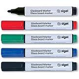 """SIGEL GL711 Juego de 5 rotuladores de tiza """"cap off"""", borrables, puntas de ojiva de Ø 2-3 mm, negro/rojo/verde/azul"""