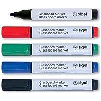 """SIGEL GL711 Lot de 5 marqueurs pour tableaux en verre / tableaux blancs, effaçables, encre """"cap off"""", pointes ogives Ø 2…"""