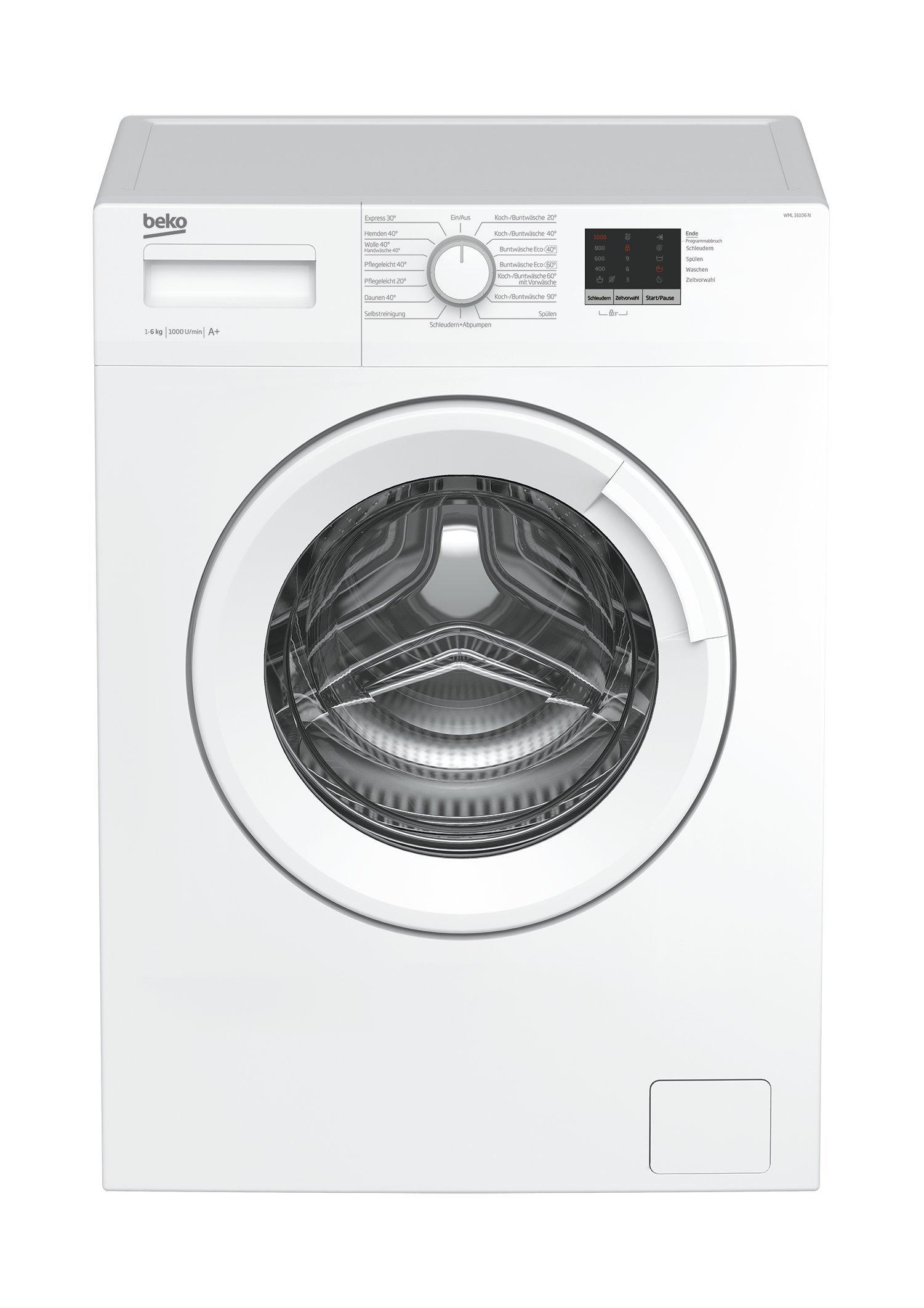 Beko WML 16106 N Waschmaschine Frontlader, 6 kg Füllmenge, Mengenautomatik, weiß