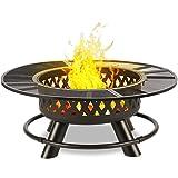 blumfeldt Rosario - Brasero 3 en 1, Feu de Camp, Barbecue et Table, Foyer Ø 120 cm, Grille de Barbecue Ø 70 cm, INOX avec Gri