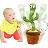 Emoin Dancing Cactus Repeats What You Say,Electronic Plush Toy with Lighting,Singing Cactus Recording and Repeat Your Words f