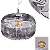 Suspension Molndal en métal chromé et élégant abat-jour en verre fumé, lampe pendante retro idéale dans un salon vintage, hau
