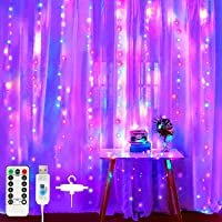 XERGY Window Curtain String Light 300 LED 8 Lighting Modes Fairy Lights Remote Control USB Powered Waterproof Lights for…