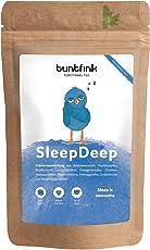 SleepDeep Abendtee, Einschlaf- und Durchschlaftee, Schlaftee aus 10 Heilpflanzen: z.B. Baldrian, Hopfen + Reishi, 100% natürlich, 30-Tage-Kur, 60g Kräutertee aus Deutschland