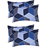VAS COLLECTIONS® 105 TC 100% Cotton King Size Pillow Cover Combo-20X30 Inches,Set of 4 (Blue & Grey )