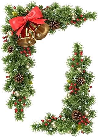 Set Of Fir Cones Bells Static Cling Corners Christmas Window - Window stickers amazon uk