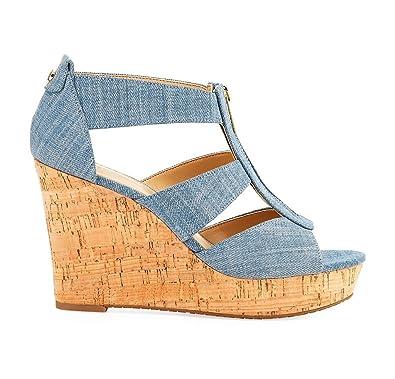 Kolnoo Damen Tamitta Denim Wedge Sandale Ausschnitt Vamp High Heel Sommer Schuhe