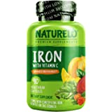 NATURELO Vegan Iron Supplement with Whole Food Vitamin C - Best Natural Iron Pills for Women & Men w/Iron Deficiency Includin