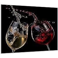 TMK   Copri piano cottura induzione 60x52 cm copertura per piano cottura in vetroceramica 1 pezzi universale per piastre di cottura paraspruzzi tagliere in vetro temprato come decorazione Vino Nero