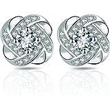 Orecchini da donna in argento 925, rivestimento in diamante anallergico 5 A zirconi per regalo ragazze