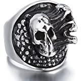 خاتم الجمجمة للرجال من الفولاذ المقاوم للصدأ يتمزق روح السائق الشرير مجوهرات الحجم 8-13