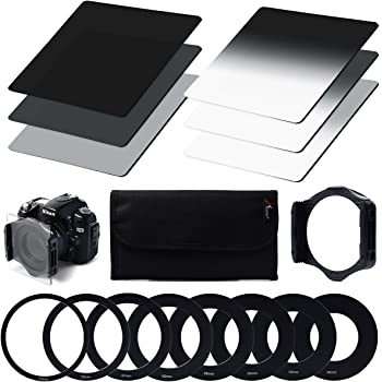 Neutral Density ND Filter Set ND2 ND4 ND8 + Gradual Neutral Density ND Filter G.ND2 G.ND4 G.ND8 + 9pcs Ring Adapter (49mm 52mm 55mm 58mm 62mm 67mm 72mm 77mm 82mm) + Filter Holder + Filter Case for cokin p series for Canon, Nikon, Sony LF6