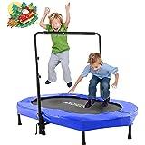 ANCHEER Trampolin für 2 Kinder, Faltbar Wasserdicht Fitness JumpingTrampoline für Indoor/Outdoor/Garten/Drinnen, Kindertrampolin mit Verstellbarem Haltegriff, Belastung Bis 100kg