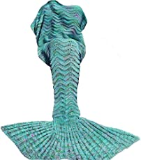 DDMY Mermaid Tail Blanket For Kids Teens Adult Handmade Wave Mermaid Blankets Crochet Knitting Blanket Seasons Warm Soft Living Room Sleeping Bag Best Birthday Christmas gift 74''x35'' Mint Green by DDMY