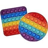 Gioco Tattile sensoriale Bubble Fidget Toy, Fidget Toy Pop it Kit. 2 Pezzi in Morbido Silicone Rainbow color. Ideale per alle