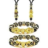 LOLIAS Pi Yao Feng Shui Bracciale Collana Set Perline Bracciale Ossidiana Nera Pi Xiu Bracciale Collana Cinese Intagliato a M