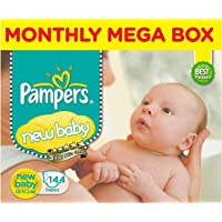 Pampers Active Baby Diapers, New Born, Extra Small, (NB, XS) size, 144 Count, Taped style diaper