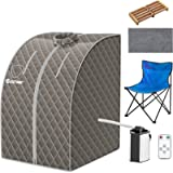 COSTWAY Home Steam Sauna, 9 Levels Temperature Adjustable Personal Spa Box with Folding Chair, 3L 1000W Bathroom Remote…