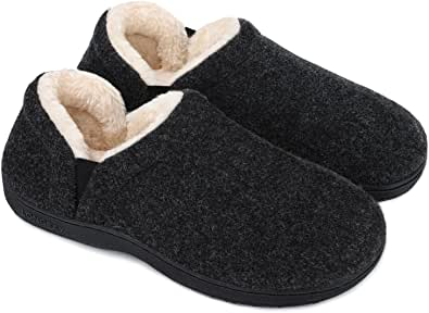 LongBay Men's Comfort Memory Foam Slippers Faux Fur Lined Winter House Shoes with Adjustable Elastic Gores
