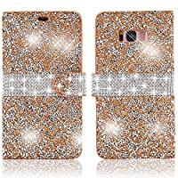 For Galaxy S8 Plus Case,3D Bling Diamond Case for Samsung Galaxy S8 Plus,Galaxy S8 Plus Crystal Rhinestone Magnetic Flip PU Leather Wallet Case Slim Fit 360 Degree Protective Shockproof Front and Back Full Body Cover-Sparkle Gold