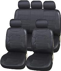 upgrade4cars Auto-Sitzbezüge Leder-Optik Universal in Schwarz   Premium Auto-Sitzbezug Set für die Vordersitze & Rückbank   Pkw Sitzbezüge für Sommer & Winter (B3 Schwarz)