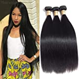 Malaysian Virgin Straight Hair 3 Bundles 100% Raw Unprocessed Human Hair Extensions Double Weft Silky Straight Weave Human Hair Bundles Natural Black (18 20 22)