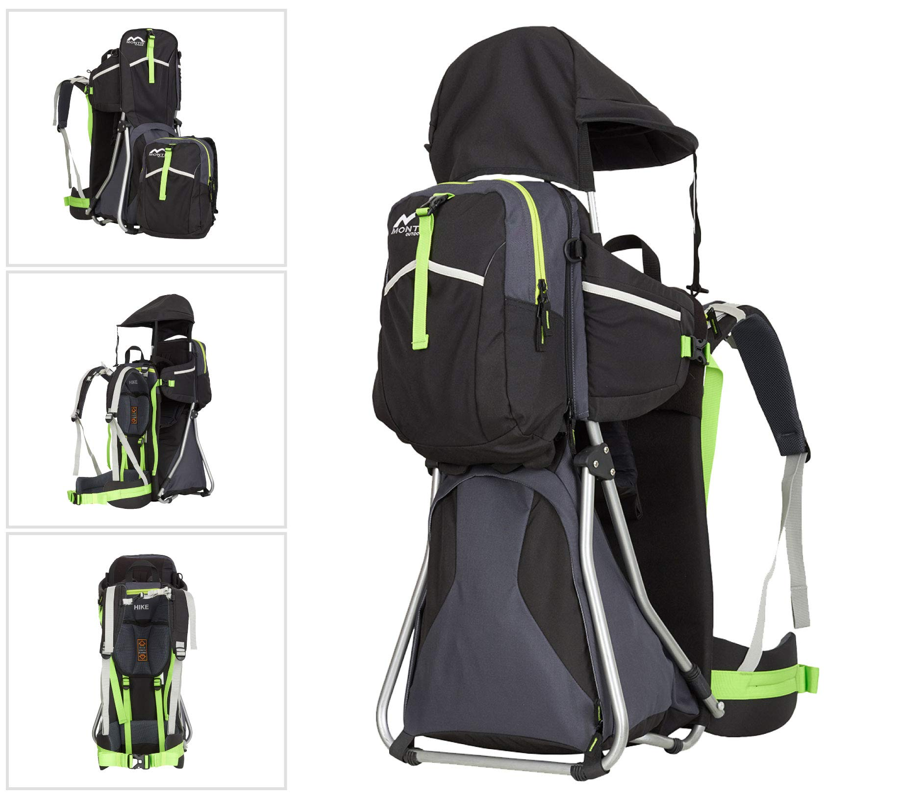 MONTIS HIKE, Premium Back Baby/Child Carrier, Up to 25kg, (black) M MONTIS OUTDOOR 89cm high, 37cm wide | up to 25kg | various colours | 28L seat bag Laminated and dirt-repellant outer material | approx. 2.2kg (without extras) Fully-adjustable, padded 5-point child's safety harness | plush lining, raised wind guard, can be filled from both sides | forehead cushion 1