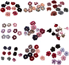 Segolike 90 Pieces 9 Styles Sewing Fabric Flower Embellishments Decoration for DIY Hair Bow Clothes Applique