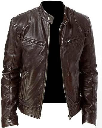 Blivener Fashion Mens Casual Genuine Leather Jacket Retro Casual Modern Zipped Cafe Racer Biker Jacket Slim Soft Plus Size Bomber Jacket