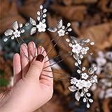 Edary Braut Hochzeit Blume Haarnadeln Perle Brautschmuck Hochzeit Haarschmuck Silber Haarspangen für Frauen und Mädchen (5 Pa
