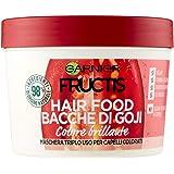 GARNIER Maschera Color Resist Fructis Hair Food, Maschera Nutriente 3In1 con Formula Vegana per Capelli Colorati, Bacche di G