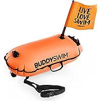 BUDDYSWIM Boa di Sicurezza per il Nuoto in Acque Libere con Bandiera Rimovibile per una Maggiore Visibilità. DryBag con…