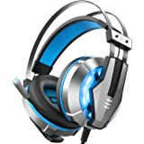 EKSA Stereo Gaming Headset for PS4, PC, Xbox One Controller, Noise Cancelling Over Ear Headphones with Mic, LED Light, Bass S