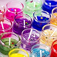 Alria Luxury Small Multicolour Smokeless Decorated Mini Cute Little Glass Jelly Gel Candles for Home Decor Diwali…