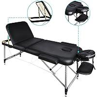 Naipo Tables de Massage 70*185cm Lit Cosmétique Pliante Aluminium Professionnel Portable Ergonomique Table Thérapie Haute Qualité Ultra Solide Léger Confort Housse de Transport et Accessoires