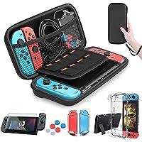 HEYSTOP Etui pour Nintendo Switch, Protection Switch Housse + Nintendo Switch Coque Transparente + Protection écran Switch + 6 Thumb Grip