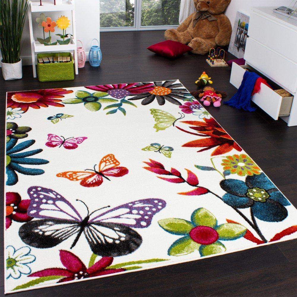 Teppich kinderzimmer  Teppich Kinderzimmer Schmetterling Bunt Kinderteppich Butterfly ...