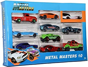 Amitasha Die Cast Metal Master Cars Pack of 10 of Different Colourful Models