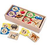Melissa & Doug Self-Correcting Alphabet Letter Puzzles (Developmental Toys, Wooden Storage Box, Detailed Pictures, 52…