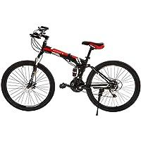 Novokart Vélo Pliable, Unisexe, pour Adulte, Noir et Rouge, 21 Stage Shift