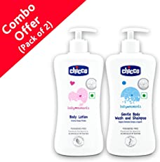 Chicco Body Lotion, 500ml with Gentle Body Wash and Shampoo, 500ml