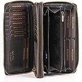 MATADOR Damen/Frauen Geldbörse TÜV Geprüfter RFID & NFC Schutz Portemonnaie Rinds Leder Geldtasche mit Doppelter Metall Reißv