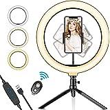 SYOSIN Ringlampa, 25 cm med stativstativ telefonhållare och Bluetooth-fjärrkontroll med dimbar 3 ljuslägen och 11 ljusnivå fö