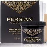 Persian Cold Wax Kit, Hair Removal Sugar Wax for Fine to Medium Hair Types Body Waxing Women & Men, 8 oz (240ml) wax, 20…