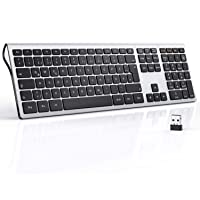 seenda 2.4 G Leise Full-Size Kabellose Tastatur, QWERTZ Deutsches Layout mit Ziffernblock, kompatibel mit PC, Laptop…