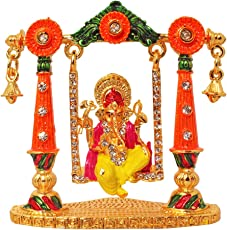 ART N HUB 24K Gold Plated with Stones handcraft Hindu God Shri Ganesh Statue for Car Dashboard, Showpiece. temple and Home Decor (8x3x7cm, Yellow)